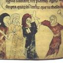 An image of Jews being beaten from a thirteenth-century English manuscript. The figures in blue and yellow are wearing a badge in the shape of two tablets, identifying them as Jews.